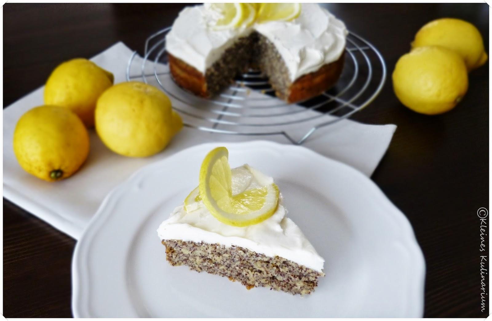 Mohn-Zitronen-Kuchen mit Mascarponefrosting