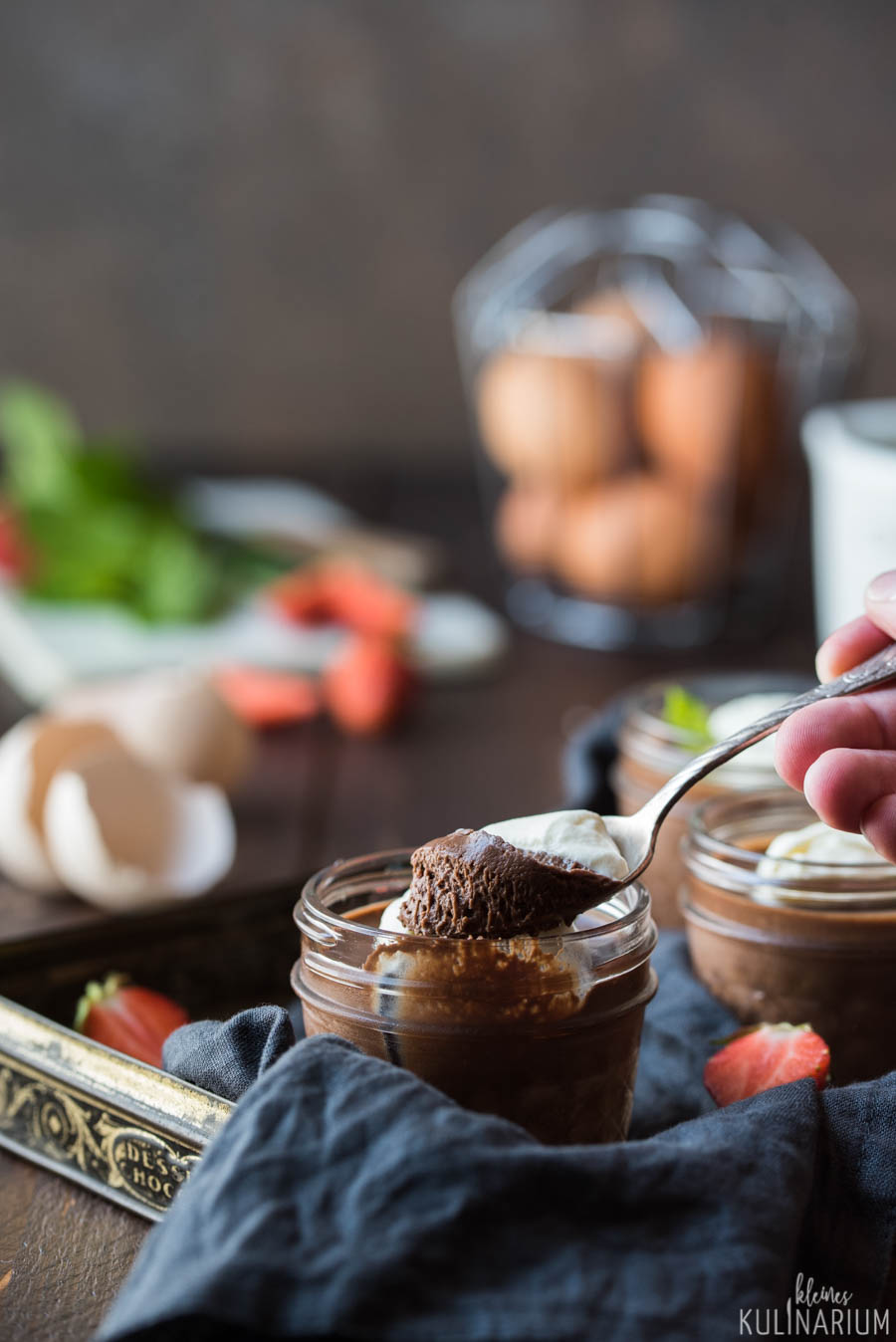 Schokoladen Pots de Crème  cremiges Schokoladendessert