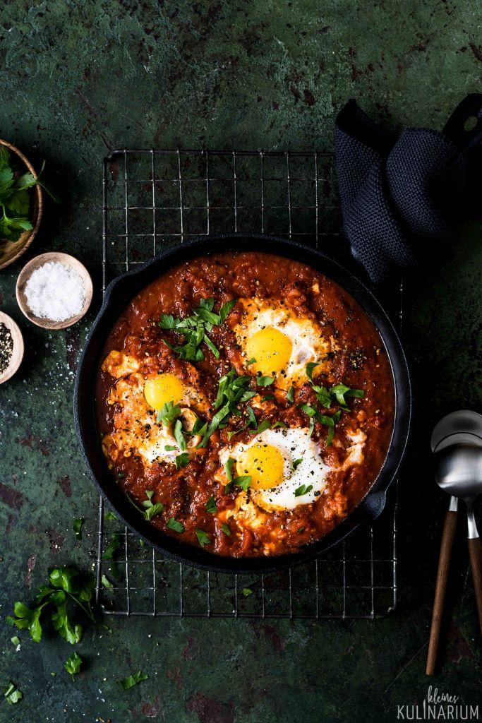 Shakshuka In Tomatensauce pochierte Eier - Kleines Kulinarium