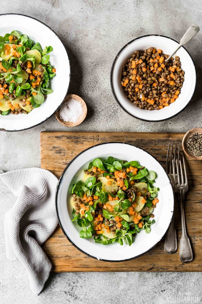 Kartoffelsalat mit Linsen, Karotte und Feldsalat - Kleines Kulinarium