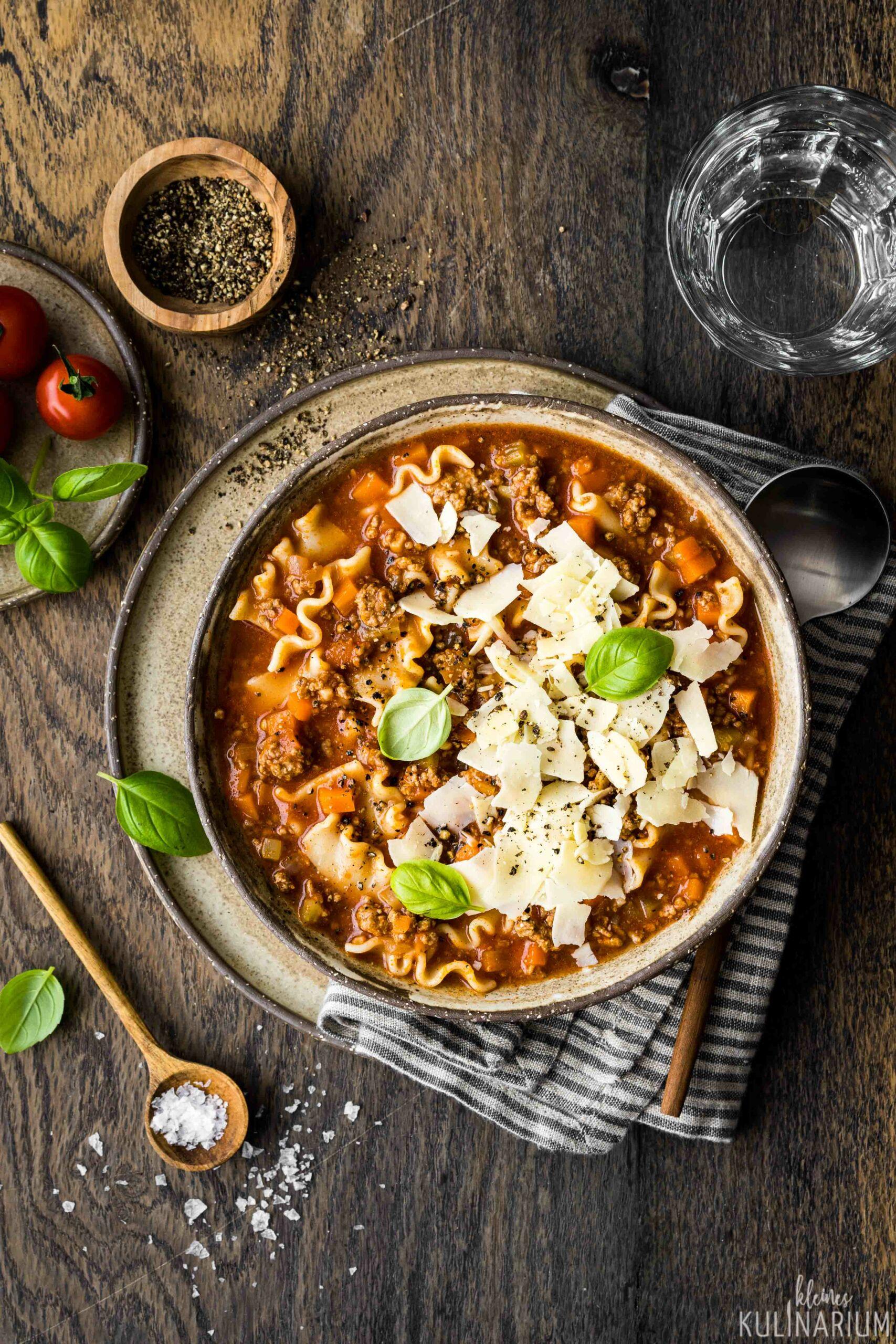 Köstliche One Pot Lasagne Suppe - Kleines Kulinarium